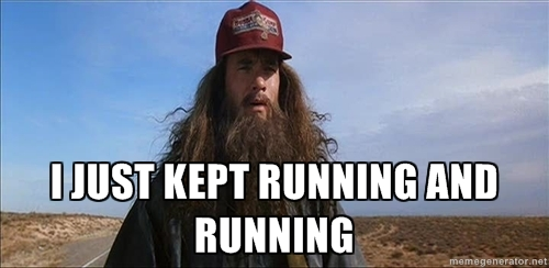 Forrest Gump with words i just kept running and running